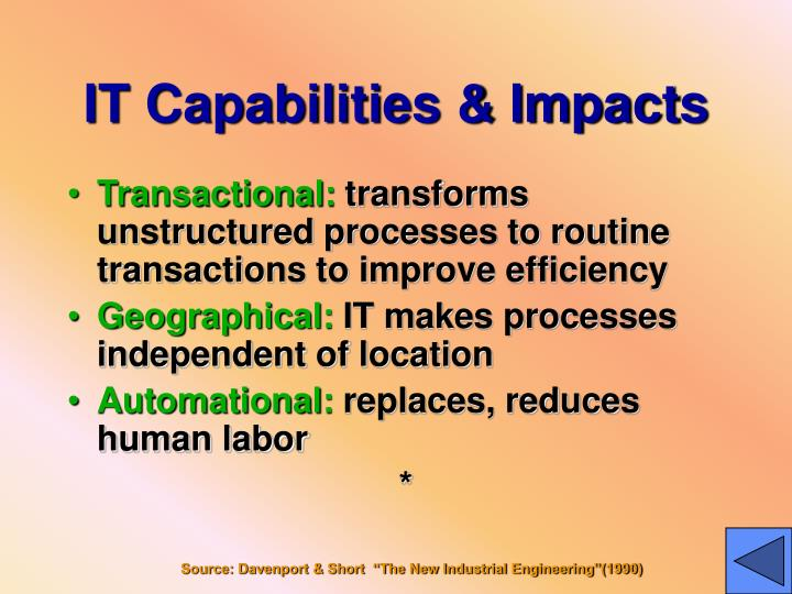 IT Capabilities & Impacts