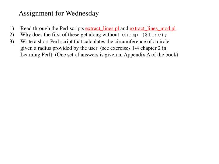 Assignment for Wednesday