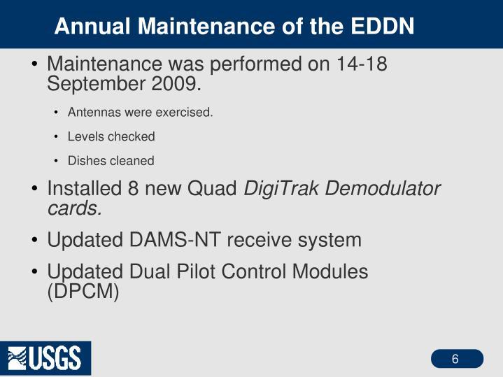 Annual Maintenance of the EDDN