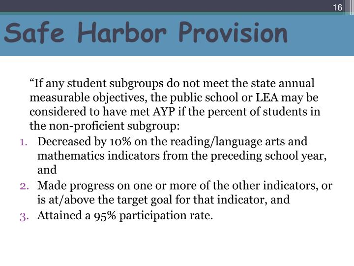 Safe Harbor Provision