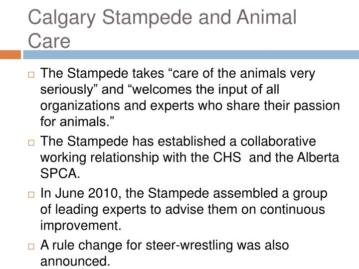 Calgary Stampede and Animal Care