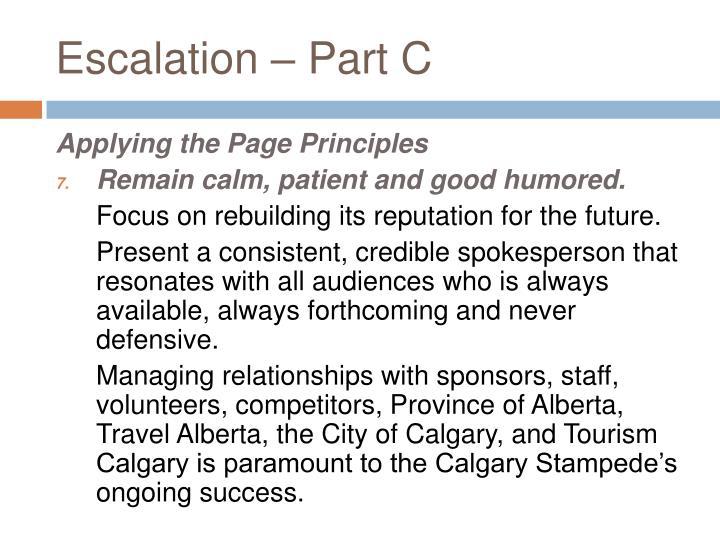 Escalation – Part C