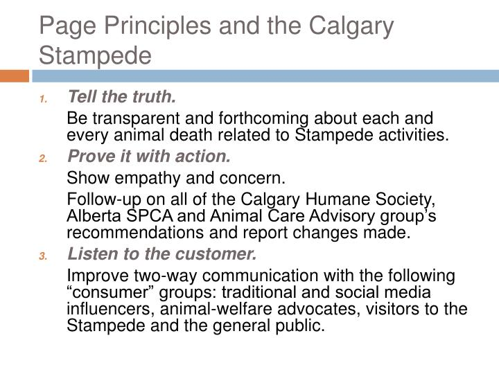 Page Principles and the Calgary Stampede