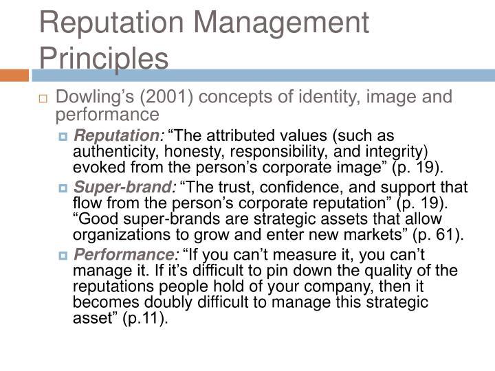 Reputation Management Principles