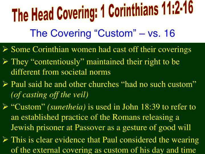 The Head Covering: 1 Corinthians 11:2-16