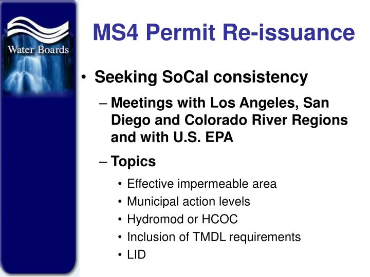 MS4 Permit Re-issuance