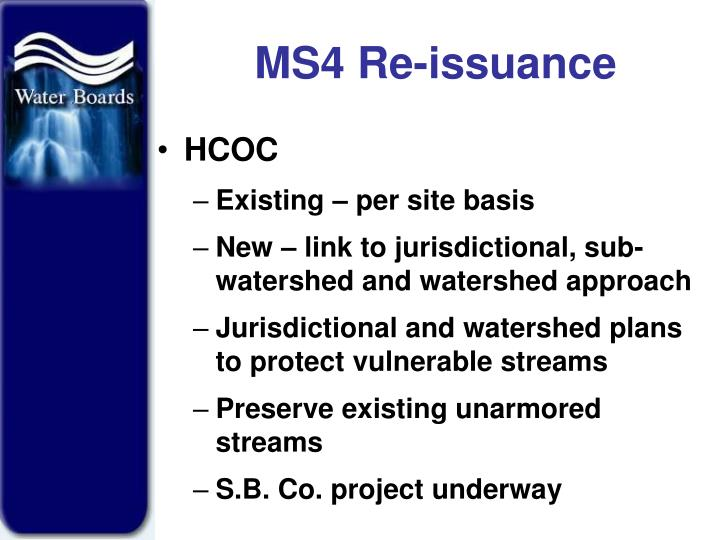 MS4 Re-issuance