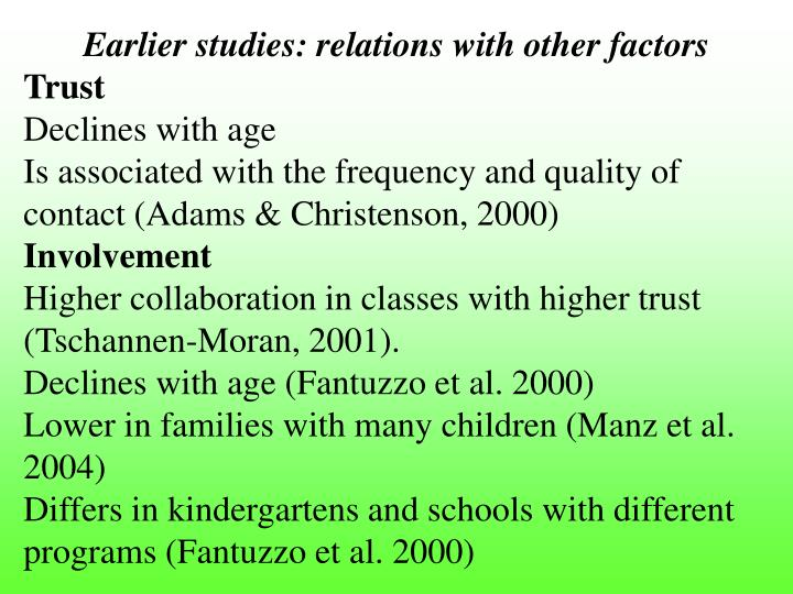 Earlier studies: relations with other factors