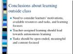 conclusions about learning outside class