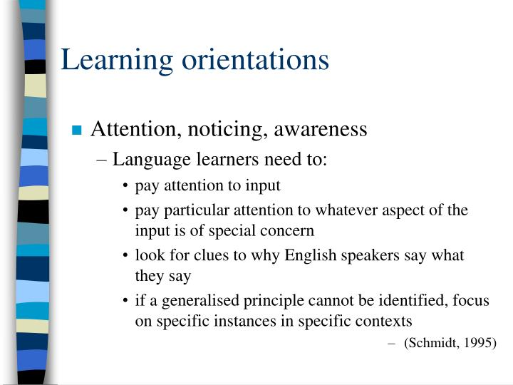 Learning orientations