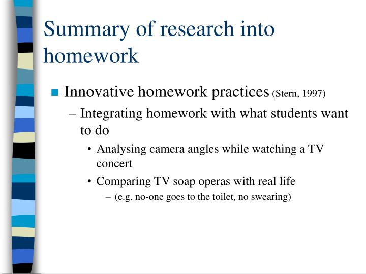 Summary of research into homework