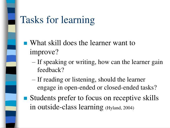 Tasks for learning