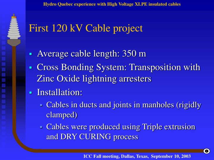 First 120 kV Cable project