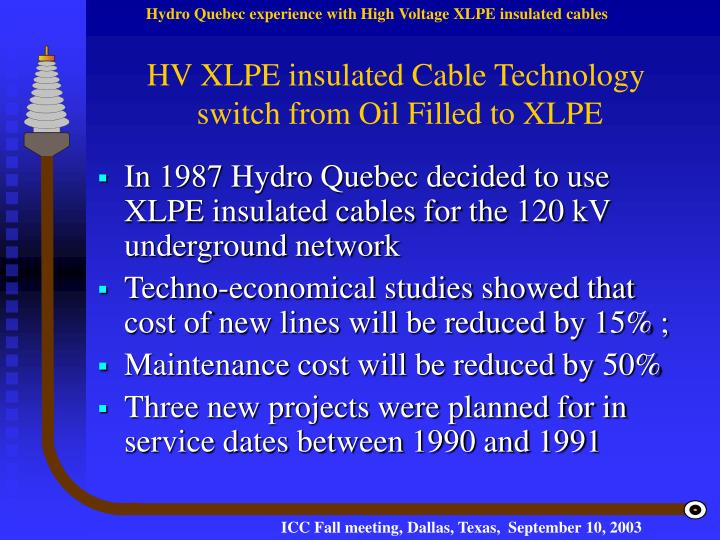 HV XLPE insulated Cable Technology