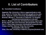 ii list of contributors