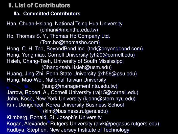 II. List of Contributors