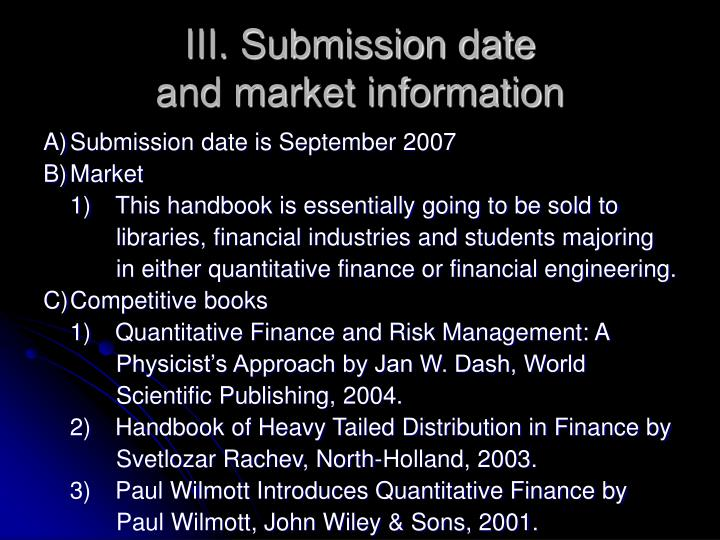 III. Submission date