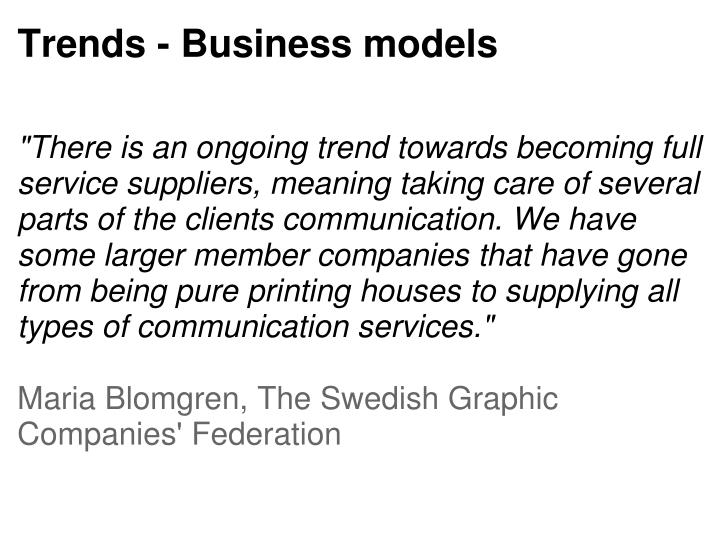 Trends - Business models