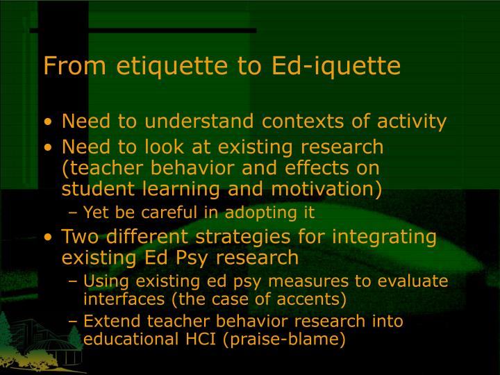 From etiquette to Ed-iquette