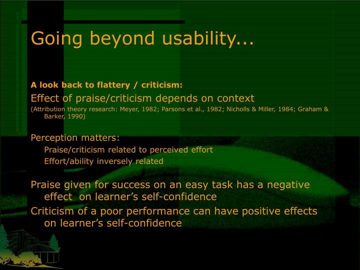 Going beyond usability...