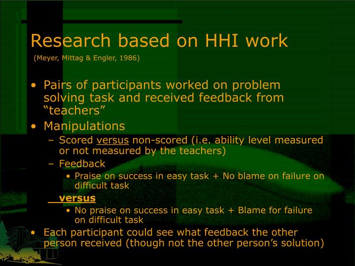 Research based on HHI work