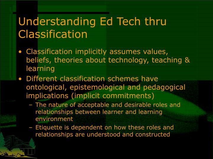 Understanding Ed Tech thru Classification