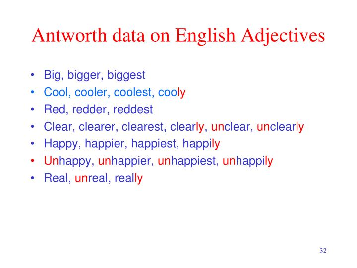 Antworth data on English Adjectives