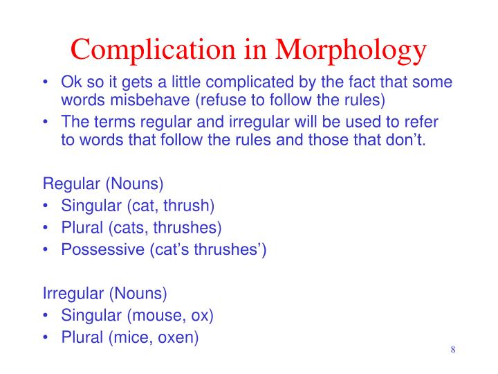 Complication in Morphology