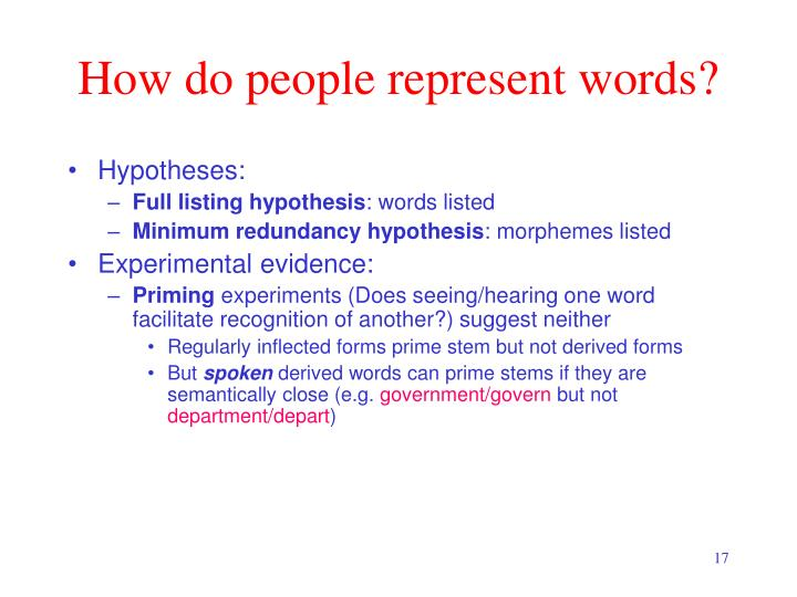 How do people represent words?