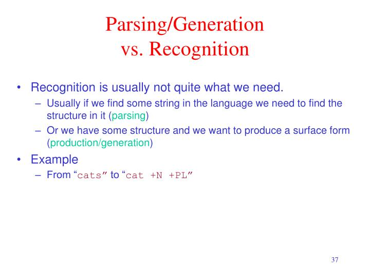 Parsing/Generation