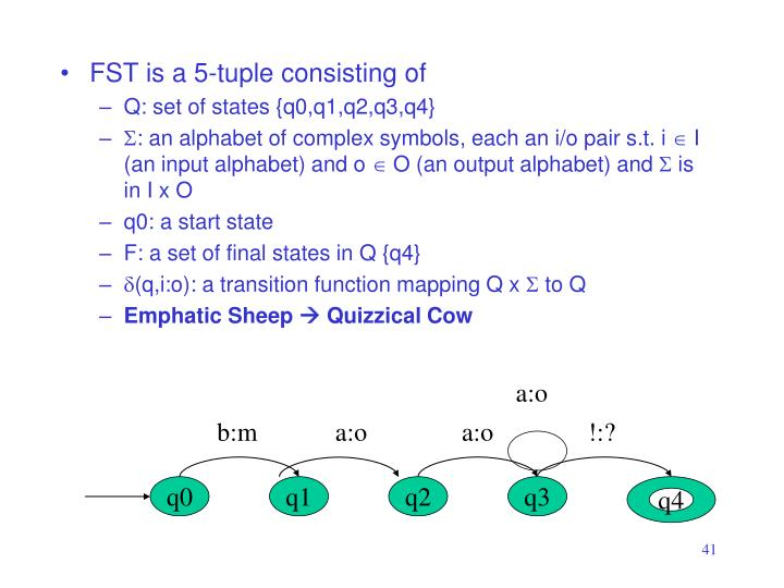 FST is a 5-tuple consisting of