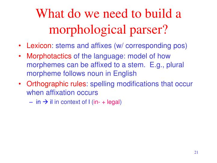 What do we need to build a morphological parser?