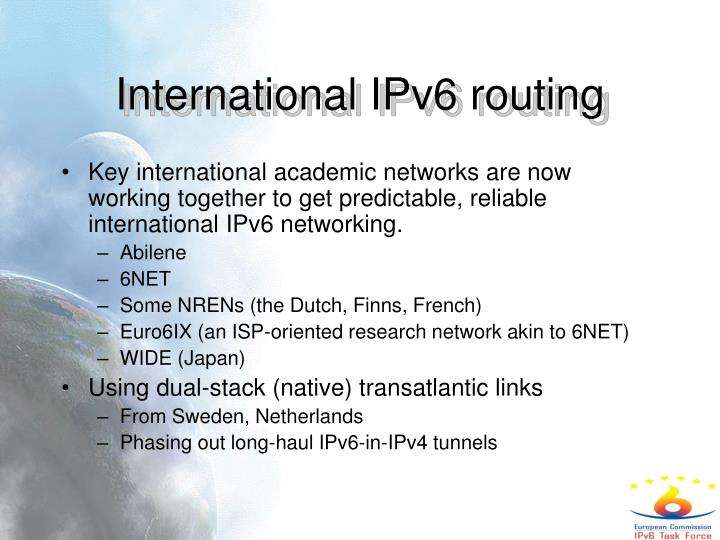 International IPv6 routing