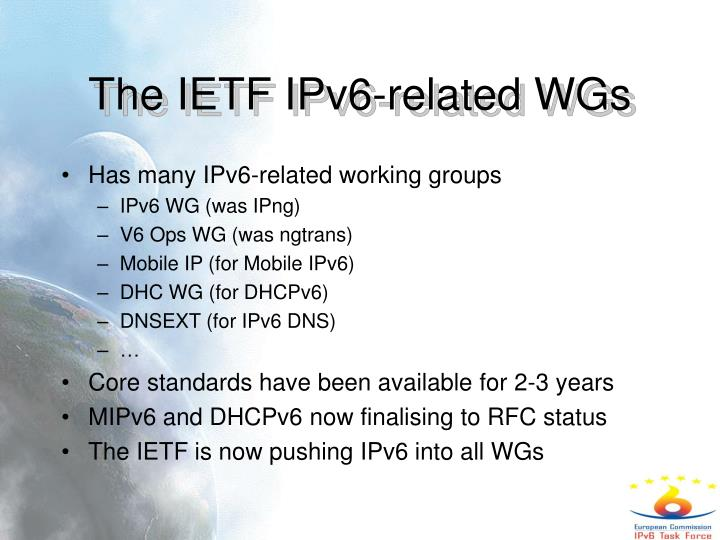 The IETF IPv6-related WGs