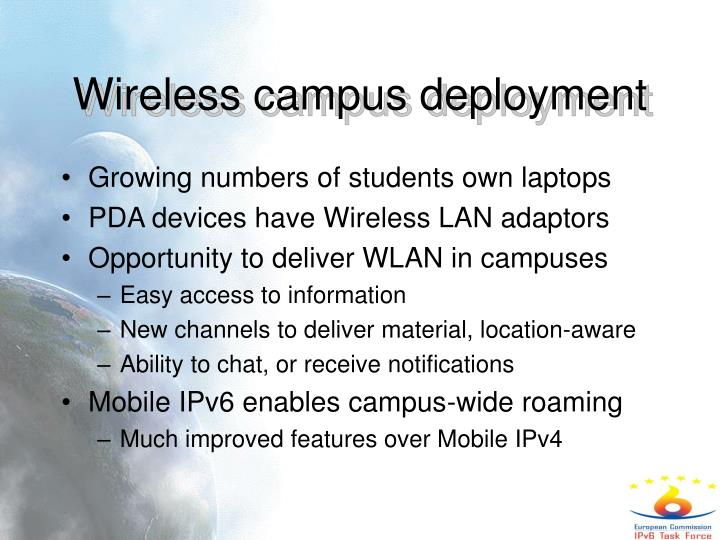 Wireless campus deployment