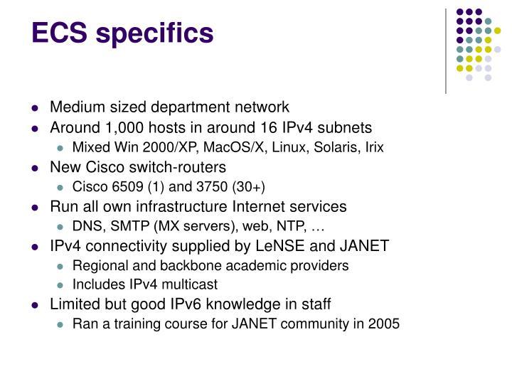 ECS specifics
