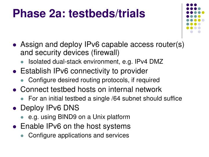 Phase 2a: testbeds/trials