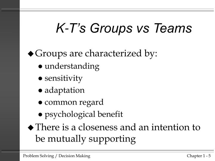 K-T's Groups vs Teams