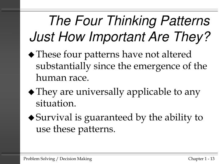 The Four Thinking Patterns  Just How Important Are They?