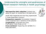 understand the strengths and weaknesses of different research methods in health psychology1