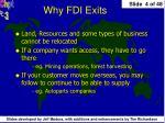 why fdi exits