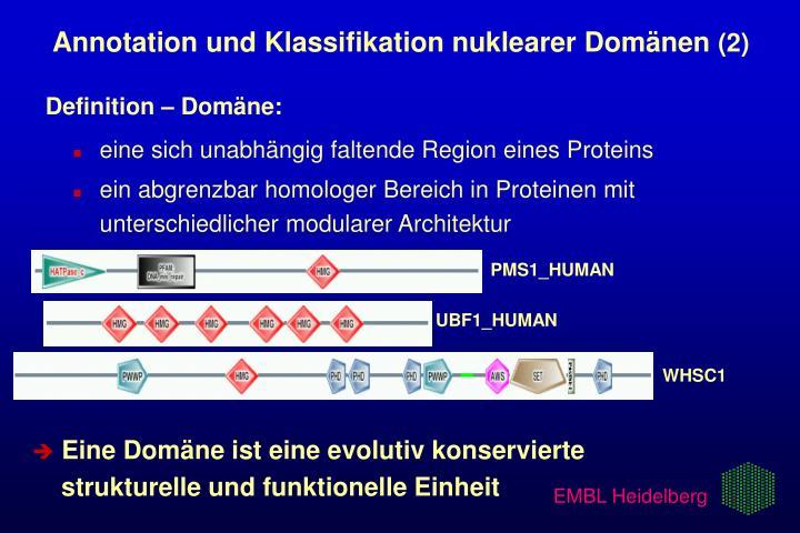 Annotation und Klassifikation nuklearer Domänen