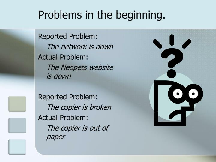 Problems in the beginning.