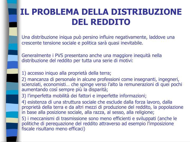 IL PROBLEMA DELLA DISTRIBUZIONE DEL REDDITO