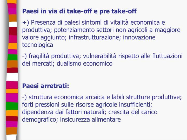 Paesi in via di take-off e pre take-off
