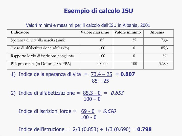 Esempio di calcolo ISU