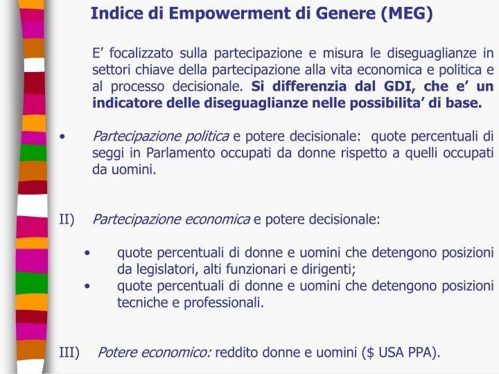 Indice di Empowerment di Genere (MEG)