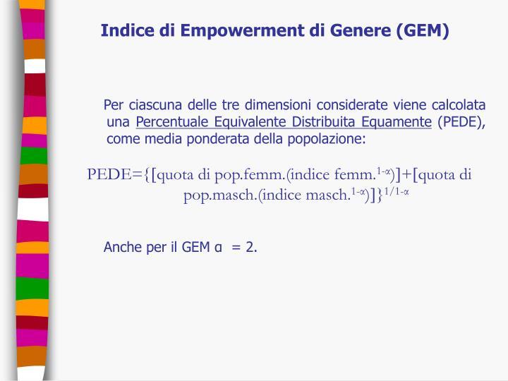 Indice di Empowerment di Genere (GEM)