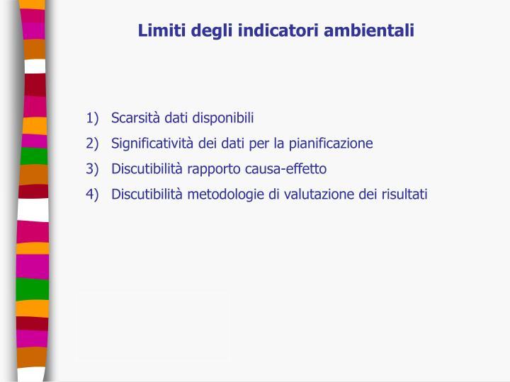 Limiti degli indicatori ambientali