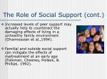 the role of social support cont